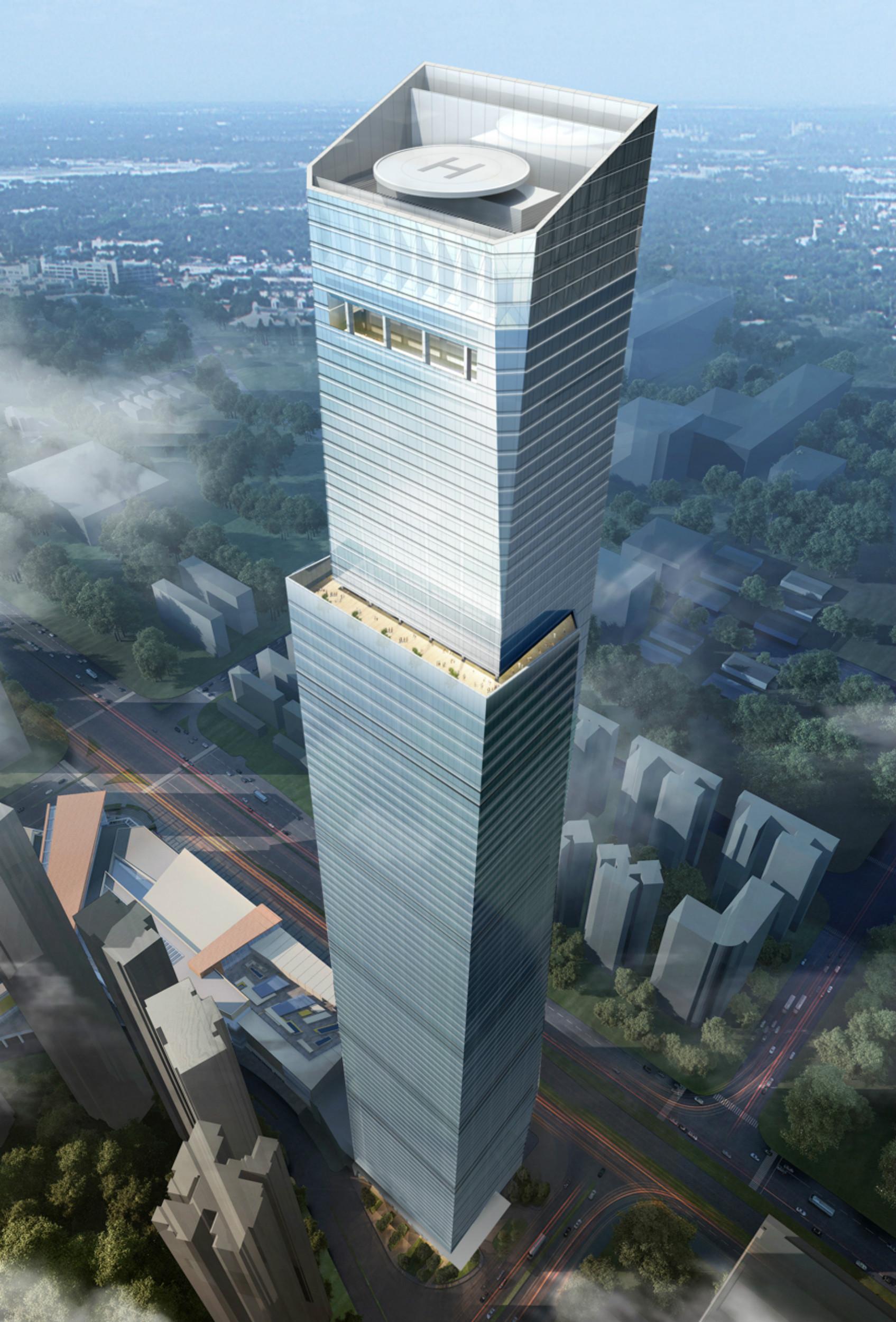 结构形式与特色:   塔楼的承重体系由横跨钢筋混凝土核心筒和周边